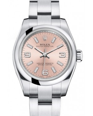 Rolex Oyster Perpetual 26 Ladies Stainless Steel Pink Arabic / Index Dial Smooth Bezel & Oyster Bracelet 176200 - BRAND NEW