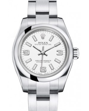 Rolex Oyster Perpetual 26 Ladies Stainless Steel White Arabic / Index Dial Smooth Bezel & Oyster Bracelet 176200 - BRAND NEW