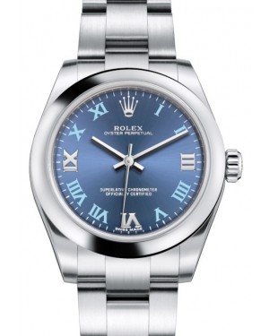 Rolex Oyster Perpetual 31 Ladies Midsize Stainless Steel Blue Roman Dial Smooth Bezel & Oyster Bracelet 177200 - BRAND NEW