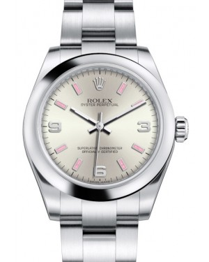 Rolex Oyster Perpetual 31 Ladies Midsize Stainless Steel Silver Arabic / Pink Index Dial Smooth Bezel & Oyster Bracelet 177200 - BRAND NEW