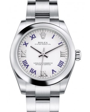 Rolex Oyster Perpetual 31 Ladies Midsize Stainless Steel White Roman Dial Smooth Bezel & Oyster Bracelet 177200 - BRAND NEW