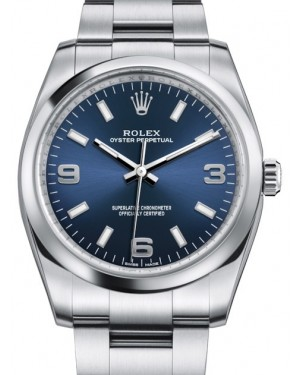 Rolex Oyster Perpetual 34 Stainless Steel Blue Arabic / Index Dial & Smooth Bezel Oyster Bracelet 114200 - BRAND NEW