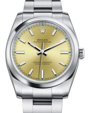 Rolex Oyster Perpetual 34 Stainless Steel Champagne Index Dial & Smooth Bezel Oyster Bracelet 114200 - BRAND NEW