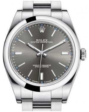 Rolex Oyster Perpetual 39 Stainless Steel Dark Rhodium Index Dial & Smooth Bezel Oyster Bracelet 114300 - BRAND NEW