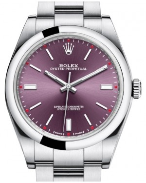 Rolex Oyster Perpetual 39 Stainless Steel Red Grape Index Dial & Smooth Bezel Oyster Bracelet 114300 - BRAND NEW