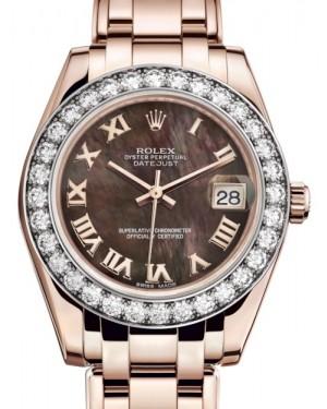Rolex Pearlmaster 34 Rose Gold Black Mother of Pearl Roman Dial & Diamond Bezel Pearlmaster Bracelet 81285 - BRAND NEW