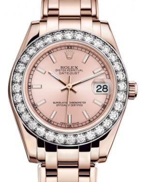 Rolex Pearlmaster 34 Rose Gold Pink Index Dial & Diamond Bezel Pearlmaster Bracelet 81285 - BRAND NEW