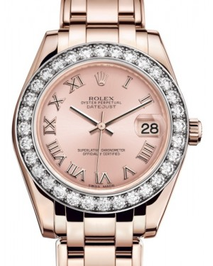 Rolex Pearlmaster 34 Rose Gold Pink Roman Dial & Diamond Bezel Pearlmaster Bracelet 81285 - BRAND NEW