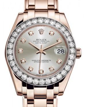 Rolex Pearlmaster 34 Rose Gold Silver Diamond Dial & Diamond Bezel Pearlmaster Bracelet 81285 - BRAND NEW