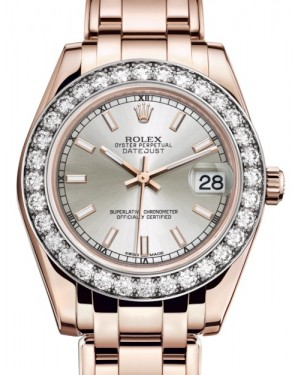 Rolex Pearlmaster 34 Rose Gold Silver Index Dial & Diamond Bezel Pearlmaster Bracelet 81285 - BRAND NEW