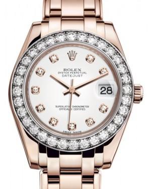 Rolex Pearlmaster 34 Rose Gold White Diamond Dial & Diamond Bezel Pearlmaster Bracelet 81285 - BRAND NEW