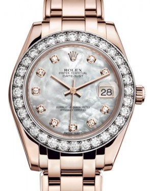 Rolex Pearlmaster 34 Rose Gold White Mother of Pearl Diamond Dial & Diamond Bezel Pearlmaster Bracelet 81285 - BRAND NEW