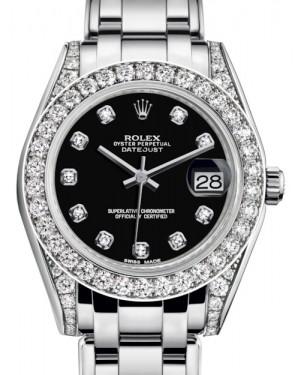 Rolex Pearlmaster 34 White Gold Black Diamond Dial & Diamond Set Case & Bezel Pearlmaster Bracelet 81159 - BRAND NEW