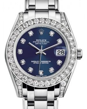 Rolex Pearlmaster 34 White Gold Blue Diamond Dial & Diamond Set Case & Bezel Pearlmaster Bracelet 81159 - BRAND NEW