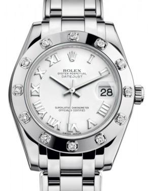 Rolex Pearlmaster 34 White Gold White Roman Dial & Diamond Set Bezel Pearlmaster Bracelet 81319 - BRAND NEW