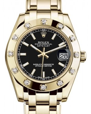 Rolex Pearlmaster 34 Yellow Gold Black Index Dial & Diamond Set Bezel Pearlmaster Bracelet 81318 - BRAND NEW