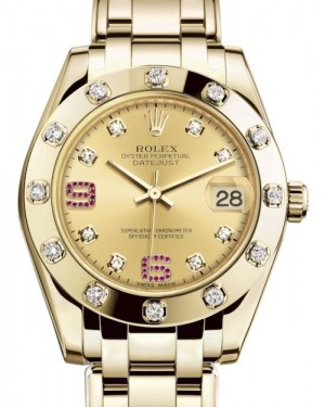 Rolex Pearlmaster 34 Yellow Gold Champagne Diamond & Ruby Arabic Dial & Diamond Set Bezel Pearlmaster Bracelet 81318 - BRAND NEW