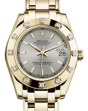Rolex Pearlmaster 34 Yellow Gold Silver Index Dial & Diamond Set Bezel Pearlmaster Bracelet 81318 - BRAND NEW