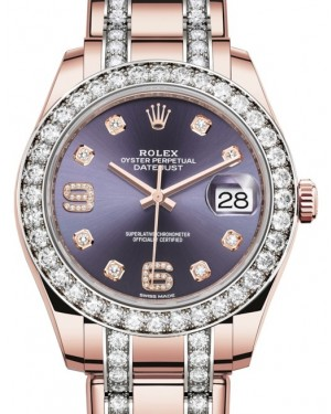 Rolex Pearlmaster 39 Rose Gold Aubergine Diamond Dial & Diamond Bezel Diamond Set Pearlmaster Bracelet 86285 - BRAND NEW