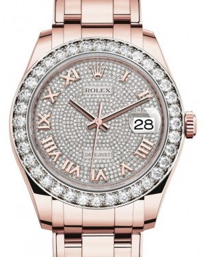 Rolex Pearlmaster 39 Rose Gold Diamond Paved Roman Dial & Diamond Bezel Pearlmaster Bracelet 86285 - BRAND NEW