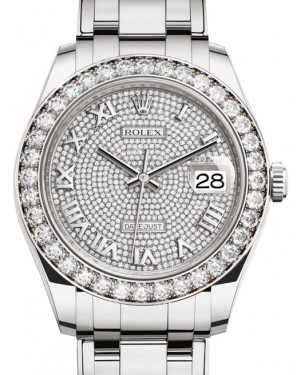 Rolex Pearlmaster 39 White Gold Diamond Paved Roman Dial & Diamond Bezel Pearlmaster Bracelet 86289 - BRAND NEW