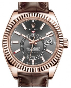Rolex Sky-Dweller Rose Gold Dark Rhodium Index Dial Fluted Bezel Leather Strap 326135 - PRE-OWNED