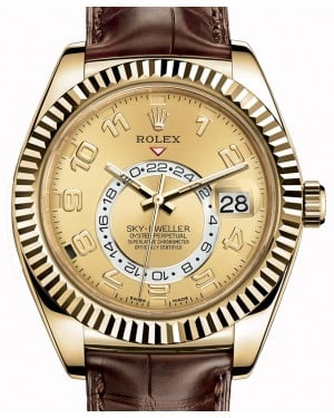 Rolex Sky-Dweller 326138-0004 Champagne Arabic Fluted Yellow Gold & Leather 42mm - BRAND NEW