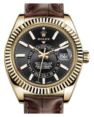 Rolex Sky-Dweller Yellow Gold Black Index Dial Fluted Bezel Leather Strap 326138 - BRAND NEW