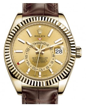 Rolex Sky-Dweller Yellow Gold Champagne Index Dial Fluted Bezel Leather Strap 326138 - BRAND NEW