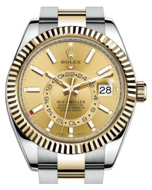 Rolex Sky-Dweller Yellow Gold/Steel Champagne Index Dial Fluted Bezel Oyster Bracelet 326933 - BRAND NEW