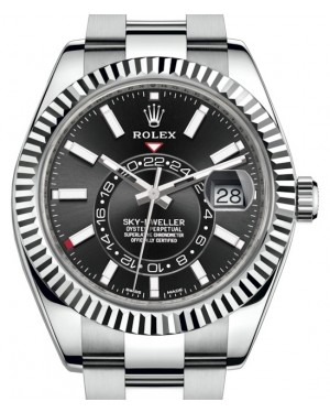 Rolex Sky-Dweller Stainless Steel Black Index Dial Fluted White Gold Bezel Oyster Bracelet 326934 - BRAND NEW