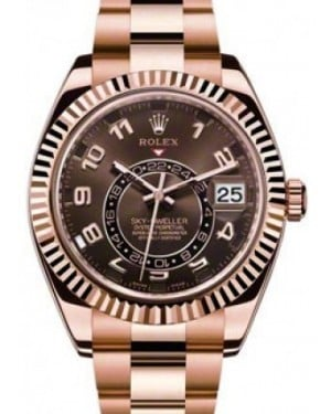 Rolex Sky-Dweller Rose Gold Everose 42mm Brown Chocolate Arabic Dial Oyster Bracelet 326935
