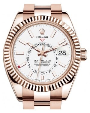 Rolex Sky-Dweller Rose Gold White Index Dial Fluted Bezel Oyster Bracelet 326935 - BRAND NEW