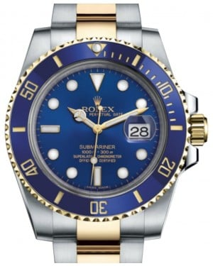 Rolex Submariner Date Yellow Gold/Steel Blue Dial & Ceramic Bezel Oyster Bracelet 116613LB - BRAND NEW