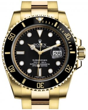 Rolex Submariner Date Yellow Gold Black Dial & Ceramic Bezel Oyster Bracelet 116618LN - BRAND NEW
