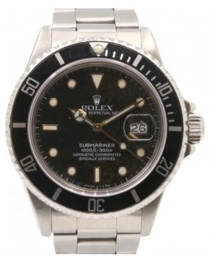 Rolex Submariner 16800 Men's 40mm Black Stainless Steel Oyster Date - PRE-OWNED