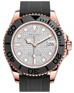 Rolex Yacht-Master 37 Rose Gold Diamond Pave Dial Black Ceramic Bezel Rubber Oysterflex Strap 268655 - BRAND NEW