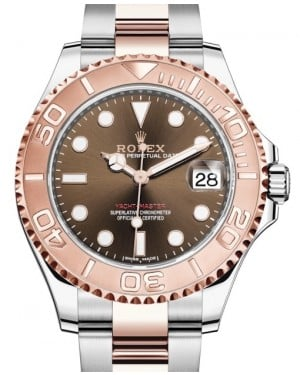 Rolex Yacht-Master 37 Rose Gold/Steel Chocolate Dial Gold Bezel Oyster Bracelet 268621 - BRAND NEW
