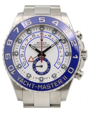 Rolex Yacht-Master II Stainless Steel 44mm White Dial Blue Hands Ceramic Bezel 116680 - PRE-OWNED