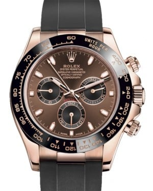Rolex Daytona Rose Gold Chocolate/Black Index Dial Ceramic Bezel Oysterflex Rubber Bracelet 116515LN - BRAND NEW