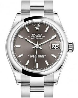 Rolex Datejust 31 Stainless Steel Dark Grey Index Dial & Domed Bezel Oyster Bracelet 278240 - BRAND NEW