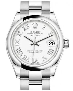 Rolex Datejust 31 Stainless Steel White Roman Dial & Domed Bezel Oyster Bracelet 278240 - BRAND NEW