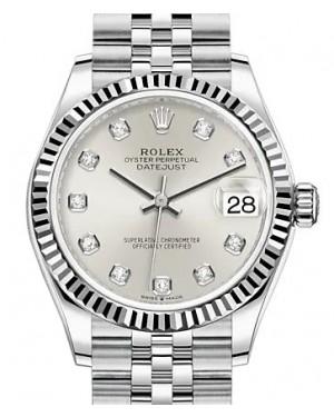 Rolex Datejust 31 White Gold/Steel Silver Diamond Dial & Fluted Bezel Jubilee Bracelet 278274 - BRAND NEW