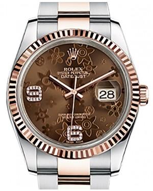 Rolex Datejust 36 Rose Gold/Steel Chocolate Floral Motif Arabic Diamond Dial & Fluted Bezel Oyster Bracelet 116231 - BRAND NEW