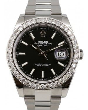 Rolex Datejust 41 Stainless Steel Black Index Dial Diamond Bezel Oyster Bracelet 126300 - BRAND NEW