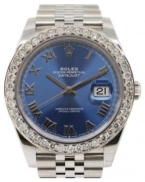 Rolex Datejust 41 Stainless Steel Blue Roman Dial Diamond Bezel Jubilee Bracelet 126300 - BRAND NEW