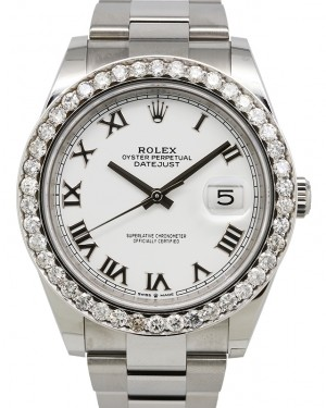 Rolex Datejust 41 Stainless Steel White Roman Dial Diamond Bezel Oyster Bracelet 126300 - BRAND NEW