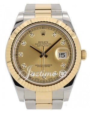 Rolex Datejust II Yellow Gold & Steel Champagne Diamond 41mm Dial Oyster Bracelet 116333 - PRE-OWNED