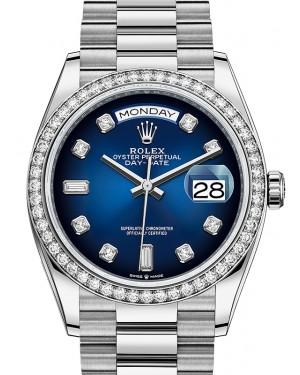 Rolex Day-Date 36 Blue Ombre Dial Diamond Bezel White Gold President Bracelet 128349RBR - BRAND NEW