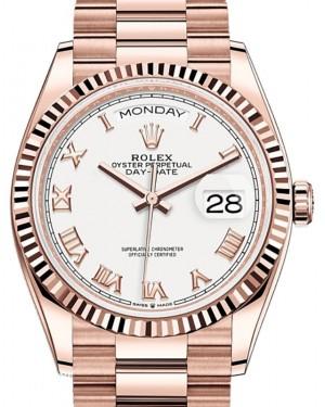 Rolex Day-Date 36 Rose Gold White Fluted Bezel President Bracelet 128235 - BRAND NEW